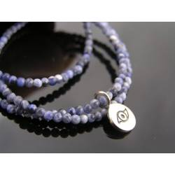 Evil Eye Protection Necklace, Sterling Silver with Sodalite and Ruby
