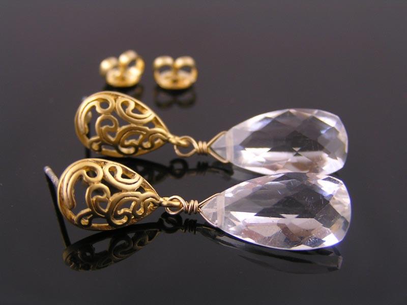 Rock Quartz Earrings with Filigree Studs
