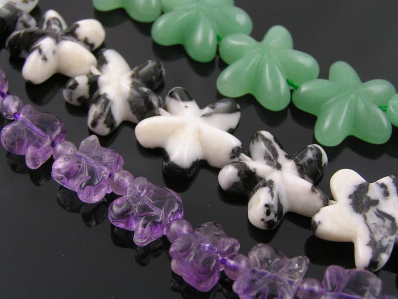 Amethyst, Jasper and Aventurine Star Beads