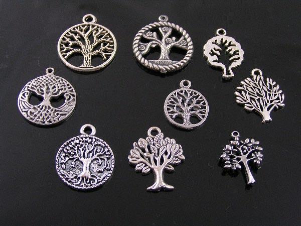 More Silver Tone Tree Pendants