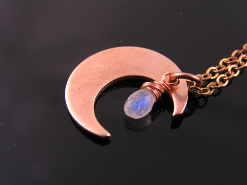 Copper Moon and Moonstone Necklace