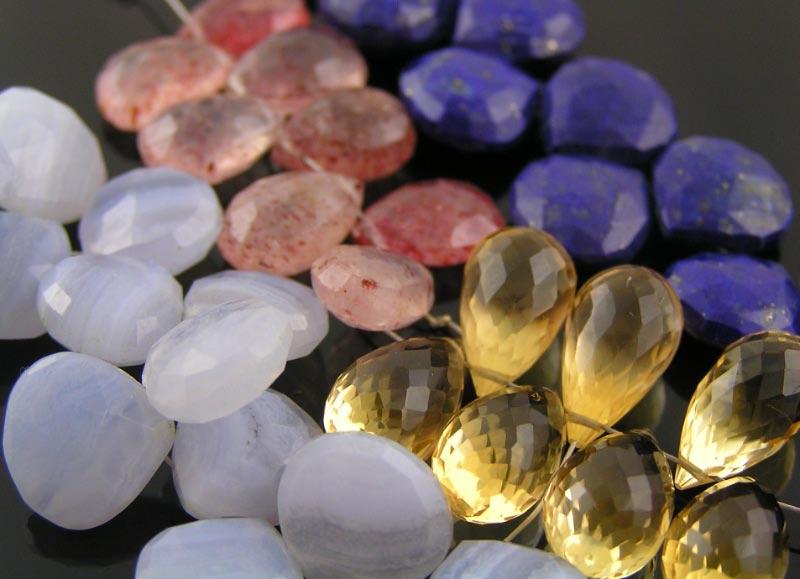 Blue Lace Agate, Citrine, Strawberry Quartz, Lapis Lazuli