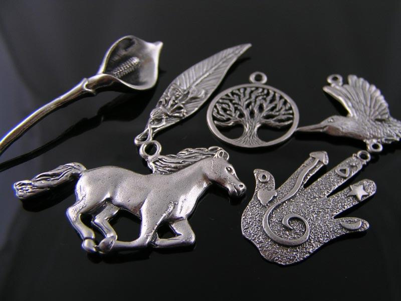 Hand-cast pewter pendants