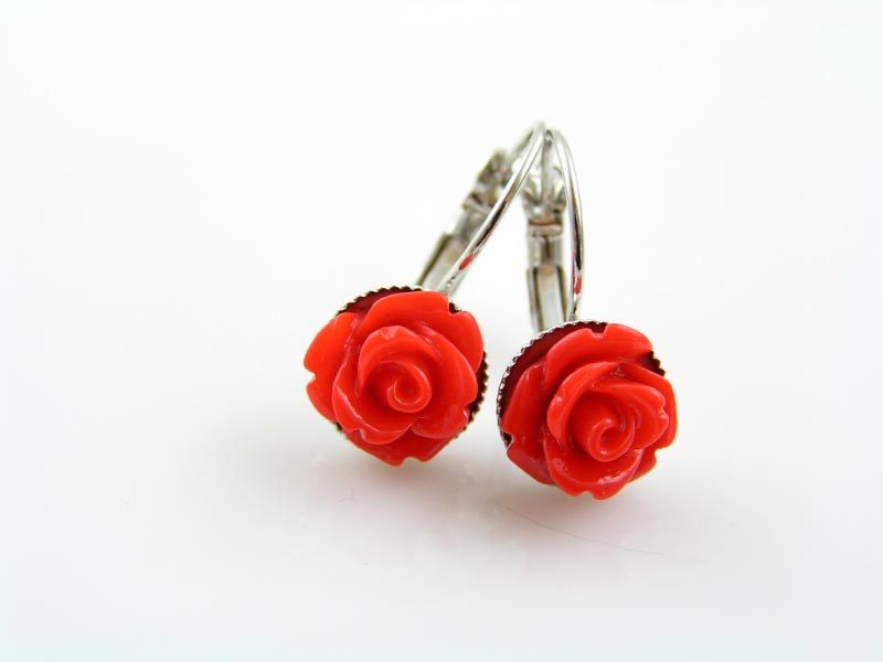 Free Gift with Purchase, Red Roses Earrings
