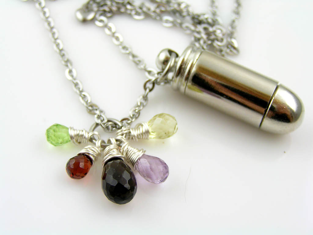 Mourning Necklace with Urn and Gemstones