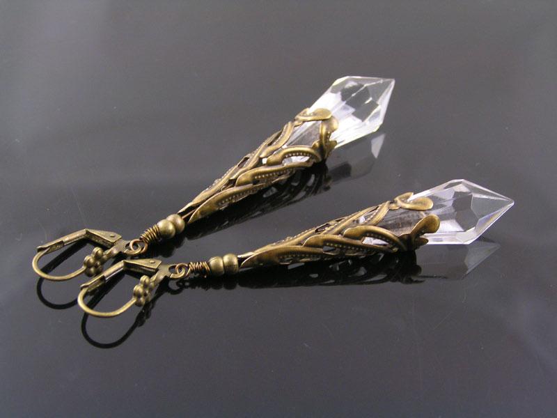 Filigree Crystal Point Earrings