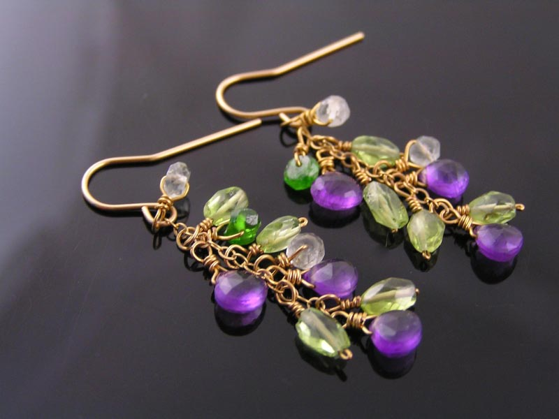 Gold Filled Earrings with Gemstones