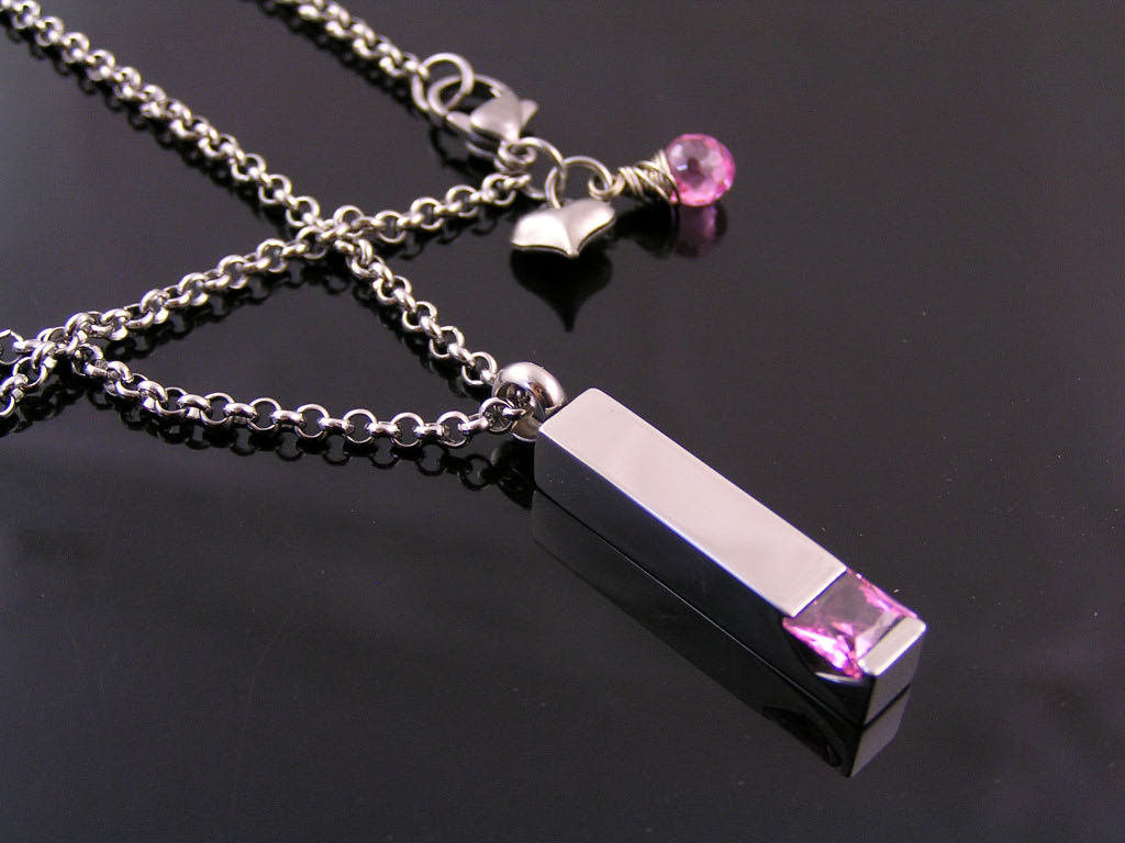 Small Urn with Pink Cubic Zirconia Necklace