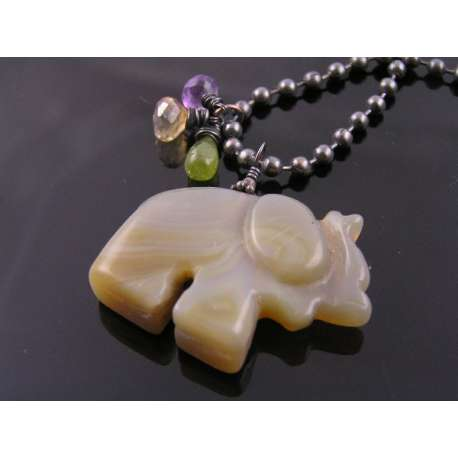Carved Agate Elephant Necklace