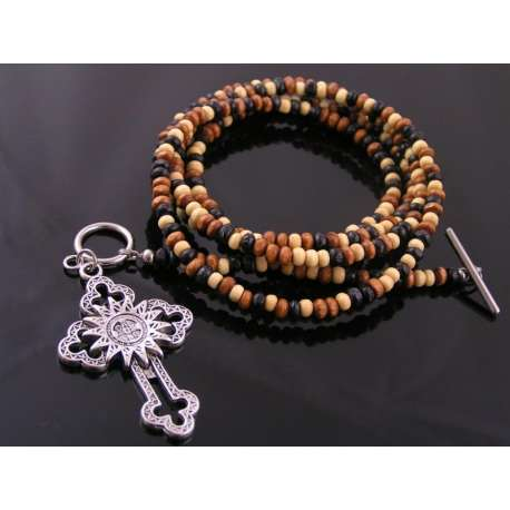 Ornate Cross on Wooden Bead Body Necklace