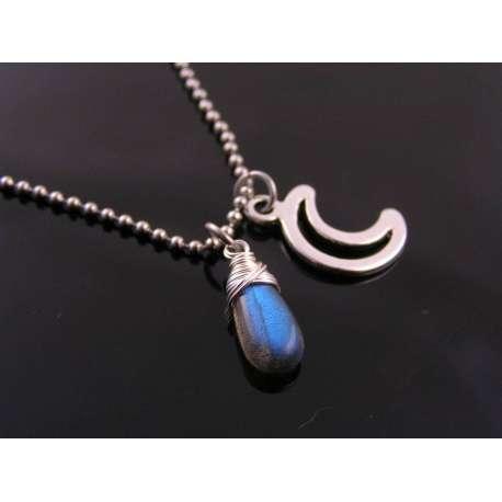 Labradorite and Moon Necklace