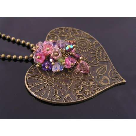 Ornate Heart Necklace with Cascading Flowers