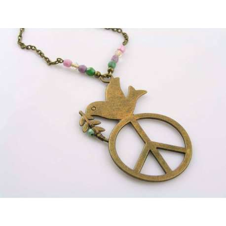 Hand Coloured Peace Sign Necklace