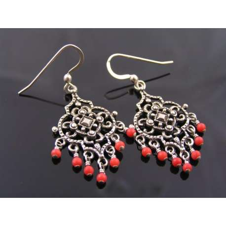 Ornate Chandelier Earrings with Coral