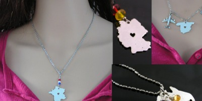Map Necklaces, Australia, Germany, France and Spain
