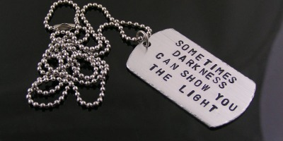 "New: Dog Tag Necklace with Disturbed Song Quote ""The Light"""
