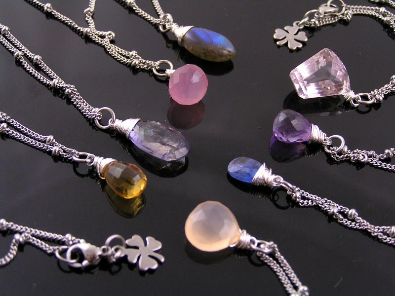 A new lot of single stone Necklaces