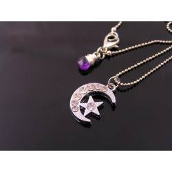 Crescent Moon and Star Crystal Necklace,
