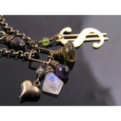 Moonstone, Amethyst and Beer Quartz Dollar Charm Necklace