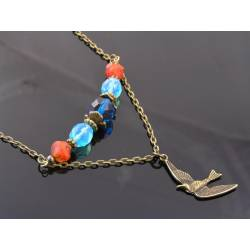 Bird Charm Necklace with Czech Glass Beads