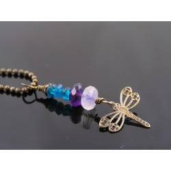 Moonstone, Amethyst and Apatite Necklace with Dragonfly Charm