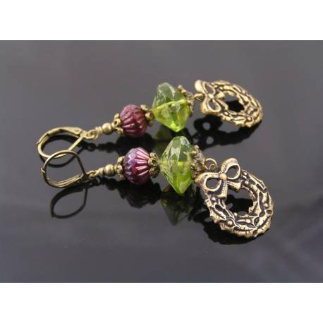 Green and Red Czech Beads Earrings with Wreath Charms