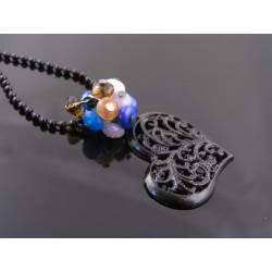 Black Filigree Heart Pendant Necklace