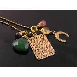 Good Luck Necklace with Bingo Charm, Aventurine, Tourmaline, Citrine and Garnet, Gambling Necklace