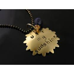 "Hand Stamped Pendant Necklace, ""You are my Sunshine"""