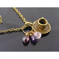 Tea Cup Necklace with Garnet, Amethyst, Rose Quartz, Labradorite and Ruby