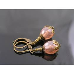 Soft Pink Czech Bead Earrings