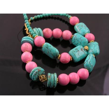 Chunky Turquoise, Rhodonite and Vermeil Necklace