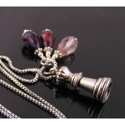 Chess Queen Charm and Crystal Drop Necklace