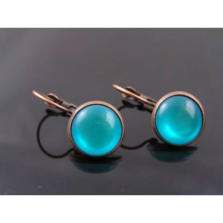 Copper and Teal Sleeper Earrings
