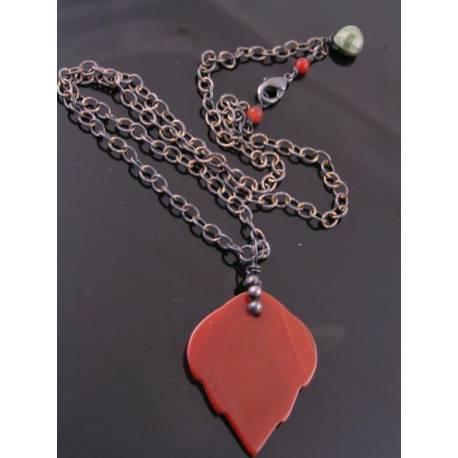 Carved Carnelian Leaf Woodland Necklace