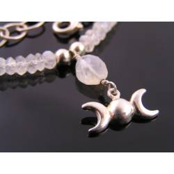 Rainbow Moonstone and Moon Phases Necklace, Sterling Silver