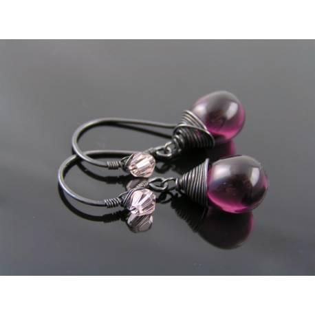 Smooth Glowing Amethyst Czech Glass Teardrop Earrings