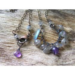 Dark Labradorite and Amethyst Horseshoe Necklace