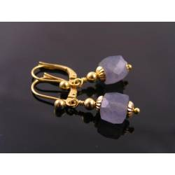 Faceted Iolite Cube Earrings