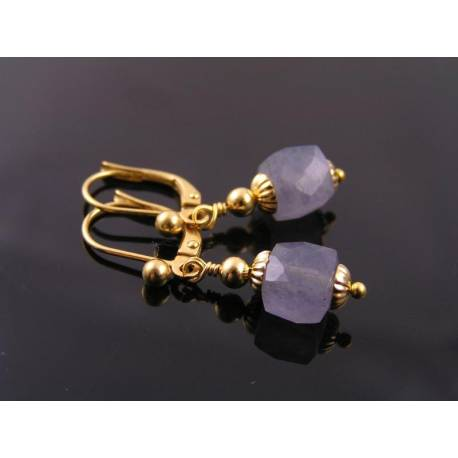 Faceted Iolite Cube Earrings