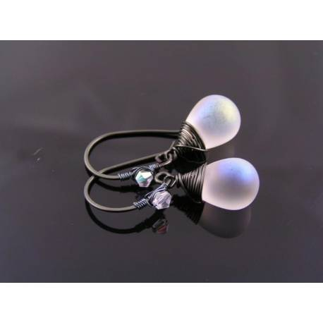 Matte White Czech Glass Teardrop Earrings