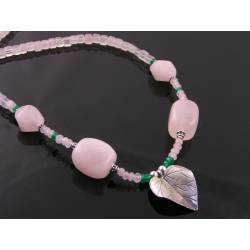 Rose Quartz Necklace with Green Aventurine and Leaf Pendant, Sterling Silver