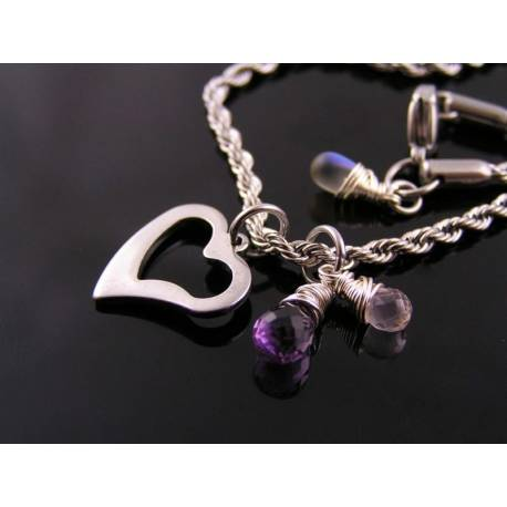 Heart Necklace with Amethyst and Rose Quartz