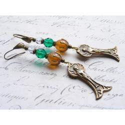 Winged Goddess Czech Glass Bead Earrings