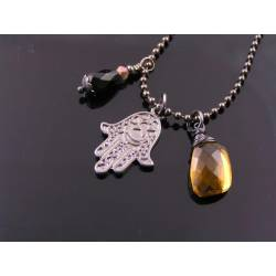 Hamsa Hand Protection Necklace with Citrine and Black Onyx