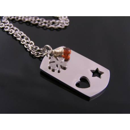 Dog Tag Necklace with Initials, Garnet and Good Luck Charm