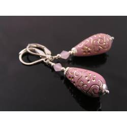 Vintage German Acrylic Drop Earrings, Rose and Silver
