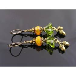 Acorn Charm Earrings, Czech Flower Beads, Octoberfest