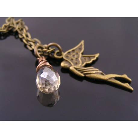 Angel Charm Necklace with Crystal Drop