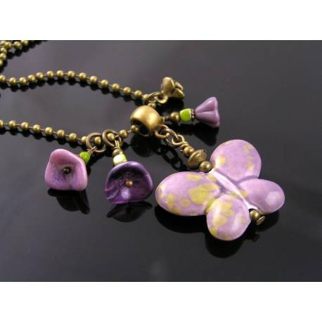 Lavender Butterfly and Flower Necklace